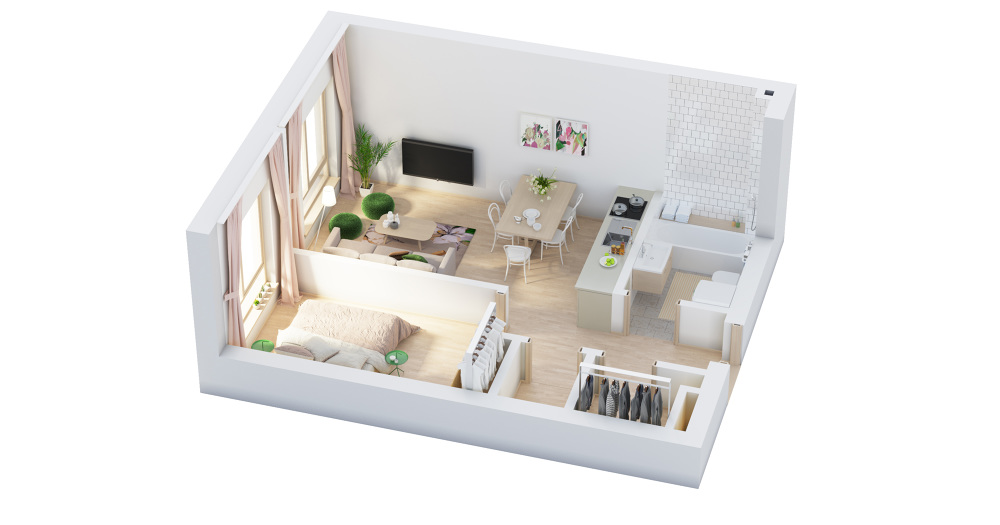 3d floor plans dizonaurai for 1 bedroom apartment with baby design